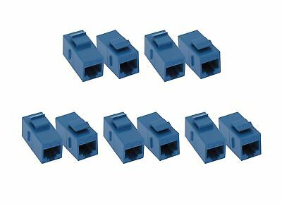 (10 Pack) Cat5e RJ45 Inline Coupler with Keystone Latch - Blue