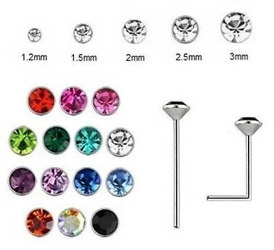 Nose Stud 925 Silver - 0.6mm Thin Bar BEND YOURSELF - Crystal Size 1.2mm to 3mm