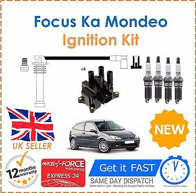 Fits Ford Fusion Ka Focus Puma Ignition Spark Plugs Coil Pack HT Leads Set NEW!
