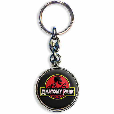 JURASSIC PARK – ANATOMY PARK – Rick and Morty – Chrome Keyring 33 mm dia insert