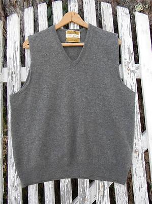 Mens Country Squire by Jantzen USA gray Australian lambswool sweater vest sz L