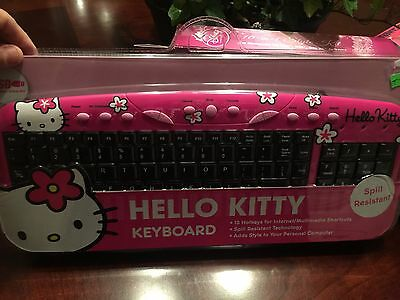 HELLO KITTY Pink Spill Resistant Computer Keyboard BRAND NEW