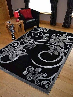 Small Large Size Modern Black & Silver Grey Floral Flower Design Floor Area Rugs