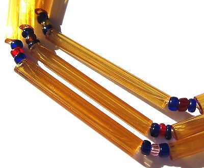 """28"""" STRAND OF GORGEOUS OLD TRANSLUCENT CYLINDER VICTORIAN VINTAGE GLASS BEADS"""
