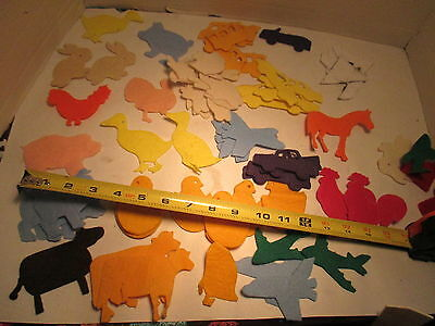 Lot of 50 or so FELT Craft Cut Outs Child Crafts assemblage cars chicks etc