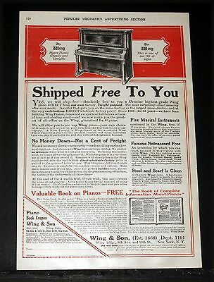 1914 Old Magazine Print Ad, Wing Player Pianos, Grands And Uprights, Noteaccord!