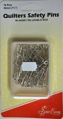 "Sew Easy Quilters Safety Pins, 30mm (1 1/4""), 70 pins, In Handy Re-Usable Box"