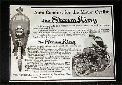 1914 Old Magazine Print Ad, The Storm King, Auto Comfort For The Motor Cyclist!