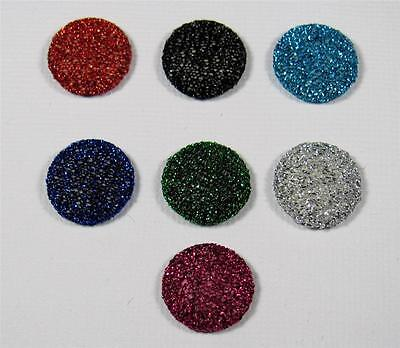 BB FLATBACKS GLITTERED FABRIC COVERED ROUND PK of 16 flatback hair bows 15mm