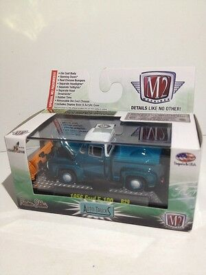 M2 1956 FORD F-100 MERCURY PICKUP TRUCK WITH ORANGE SNOW PLOW IN BOX