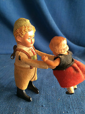 Vintage Schuco Key Wind Up Dancing Boy Lifting Girl Tin Celluloid Toy Works +key
