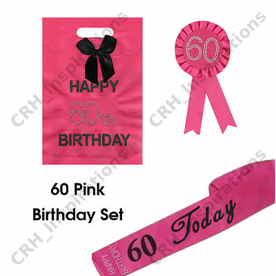 Hot Pink 60 Today Sash 60th Birthday Rosette Gift Bag NEW