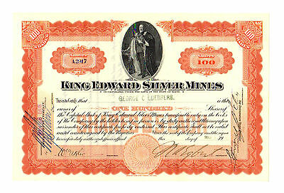 1908 King Edward Silver Mines Stock Certificate - Maine