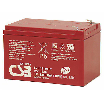 CSB EVH 12150 12V Cyclic Sealed Lead Acid Battery High Capacity 15Ah EVH12150 F2