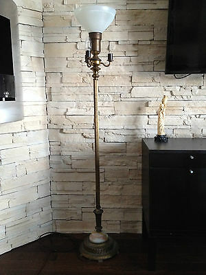 Antique Brass Candelabra  Torchiere with original shade and illuminated base