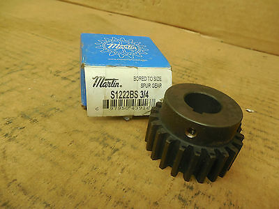 "Martin Steel Spur Gear S1222BS 3/4 S1222BS34 22 Teeth 3/4"" Bore 3/16"" KW New"