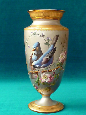 Stunning Quality French Sevres Silvered Porcelain Bird & Butterfly Vase