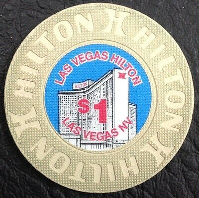 LAS VEGAS HILTON $1 CASINO CHIP LAS VEGAS NV HOUSE MOLD 1991 FREE SHIPPING