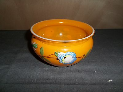 hand painted flowered orange colored bowl czech