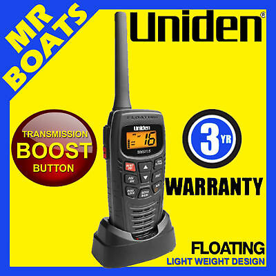Uniden Mhs115 Vhf Marine Radio ✱ Power Boost Button ✱ Handheld Waterproof Floats