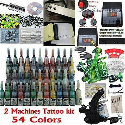 Professional Complete Tattoo Kit 2 Top Machine Gun 54 Ink 20 Needle Power Supply