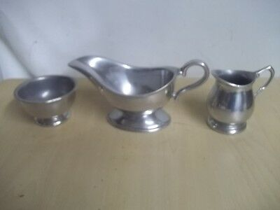 Vintage Wilton PEWTER SUGAR AND CREAMER AND GRAVY BOAT ESTATE FIND