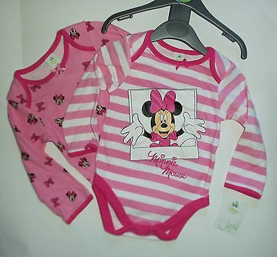 2 Variety Pack Disneys Minnie Mouse Long Sleeve Bodysuits in Pink & White Cotton