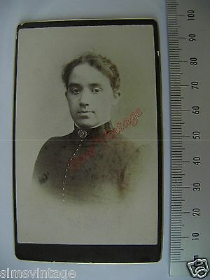 OLD CDV S3 PHOTO Victorian Young Lady Antique Image Vintage Fashion  038