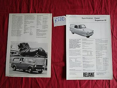 N°4582  / RELIANT : 3 prospectus REGAL ,KITTEN ,5 CWT    1971-1975