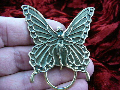 (E-435) Woman butterfly fairy with wings Eyeglass pin pendant ID badge holder