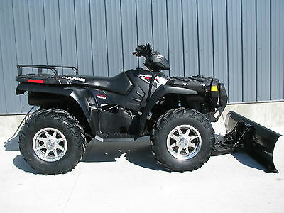 2008 POLARIS SPORTSMAN 800 EFI STEALTH BLACK 4X4 WITH WINCH AND PLOW SUPER CLEAN