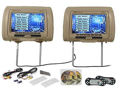 "Rockville RVD951-BG 9"" Beige Dual DVD/USB/HDMI/SD Car Headrest Monitors + Games"