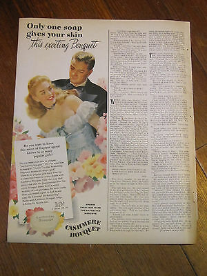 Vintage Ad Advertisement,'46,Cashmere Bouquet Soap,Blonde Lady in Ball Gown&Date