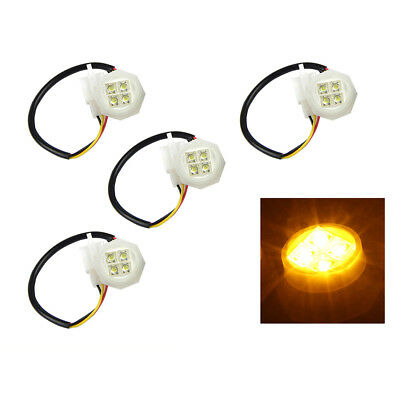 Xprite 4PCS Amber Hide-A-Way 20W Flash LED Strobe Bulbs Headlight Replacement