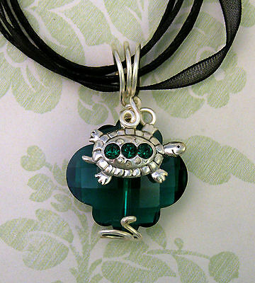Shimmery Crystal Teal Green TURTLE Pendant Necklace by Texas Woman