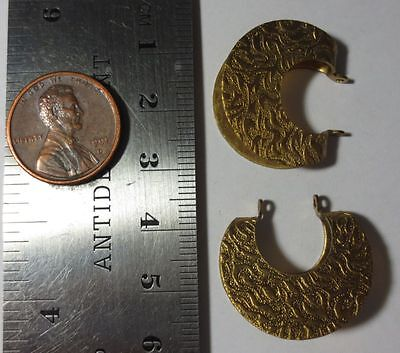 VINTAGE BRASS STAMPING - Fancy Folded Circle Round Dangle Drop 24mm - 2 Pieces