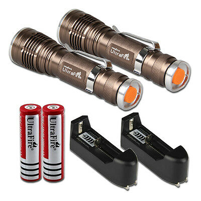 2x 1600 Lumen CREE XM-L Q5 LED Flashlight Torch Lamp Light +18650 +Charger USA