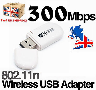 Wifi 11 N Usb Adapter Lan Internet Network Dongle For Pc Laptop 300Mbps UK