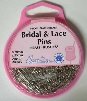 Hemline Bridal & Lace Pins 25mm x 0.70mm, Approx 300 Pins, Nickle Plated Brass