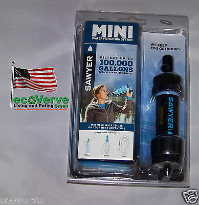 [SP105]( 1X) BLACK Sawyer Mini Water Filter w/16 oz pouch FREE Shipping  SP128