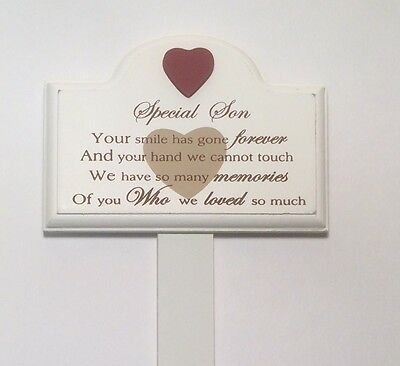 Memorial For Special Son Wooden Grave Stick, Stake Ornament Funeral Tribute 1319