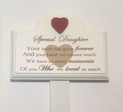 Memorial For Special Daughter Wooden Grave Stick, Stake Ornament Tribute