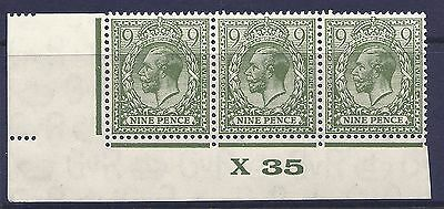 9d Olive Green Block Cypher Control X35 imperf UNMOUNTED MINT/MNH