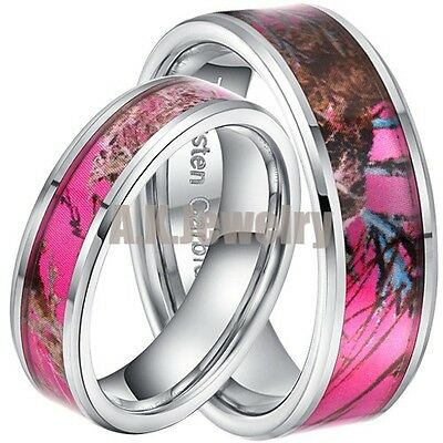 Couple 8mm&5mm Men Lady Pink Tungsten Carbide Maple Wedding Band Engagement Ring