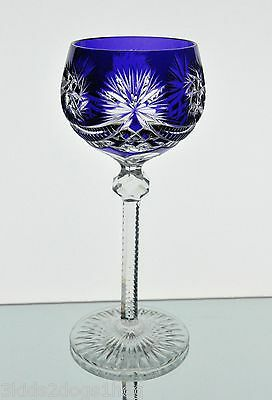 Val St Lambert ABP Cobalt Blue Cut to Clear Crystal Wine Goblet Vintage
