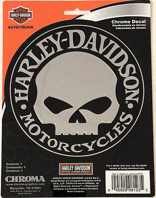 Harley-Davidson Willie G Skull Chrome Classic Graphix Sticker Decal NEW