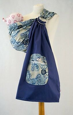 Palm and Pond Ring Sling Cotton Baby Sling Blue Paisley with Pocket 2 Position