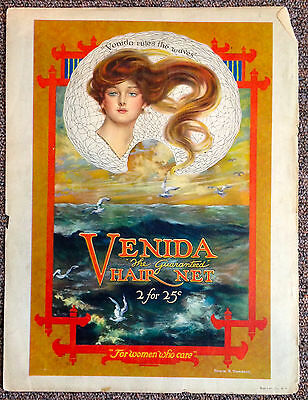 Vintage Shadowland Mag ad, Venida Hair Net 1920's, artwork by Edwin D Swaback