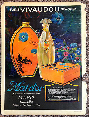 Vintage magazine ad VIVAUDOU MAIDOR perfume talc 1920's artwork by Fred L Packer