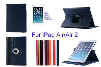 Screen Protector/360°Rotate PU Leather Case Cover for iPad Air/iPad Air 2